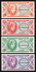 Military Payment Certificates:Series 641, Series 641 Third Printing Fractional Notes Gem New.. ... (Total: 4notes)