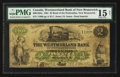 Canadian Currency: , Bend of the Petitcodiac, NB- The Westmoreland Bank of New Brunswick$2 May 1, 1861 Ch. # 800-10-04a. ...