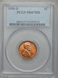 Lincoln Cents, 1956-D 1C MS67 Red PCGS....