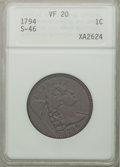 Large Cents, 1794 1C Head of 1794 VF20 ANACS. S-46, B-36, R.3....