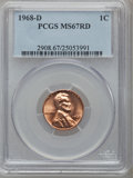 Lincoln Cents, 1968-D 1C MS67 Red PCGS....