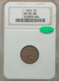 Indian Cents, 1872 1C MS64 Brown NGC. CAC....