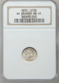 Seated Half Dimes, 1839 H10C No Drapery MS65 NGC....