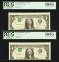 Error Notes:Inverted Third Printings, Fr. 1916-K $1 1988A Federal Reserve Notes. Two Examples. PCGSChoice About New 58PPQ.. ... (Total: 2 notes)