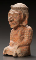 Pre-Columbian:Ceramics, A MAYA MOLDED FIGURE IN THE FORM OF AN AGED WOMAN. c. 600 - 900AD...