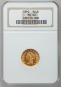 Liberty Quarter Eagles, 1892 $2 1/2 MS63 NGC....