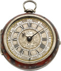Timepieces:Pocket (pre 1900) , Alexander Hewitt London Fine Silver Pair Cased Verge, circa 1685....