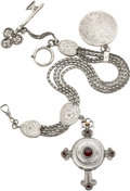 Timepieces:Pocket (post 1900), Swiss Unusual Silver & Garnet Cross Form Watch With Chain,circa 1880. ...
