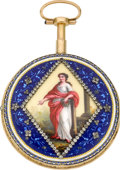 Timepieces:Pocket (pre 1900) , Philippe Terrot Fine Enamel & Gold Quarter Repeating VergeFusee, circa 1780. ...