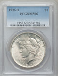Peace Dollars, 1922-D $1 MS66 PCGS....