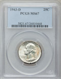 Washington Quarters, 1943-D 25C MS67 PCGS....