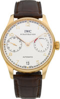 "Timepieces:Wristwatch, IWC Schaffhausen ""Portuguese Automatic"" Seven Day Power Reserve Rose Gold Wristwatch, Ref. 5001-01. ..."