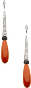 Estate Jewelry:Earrings, Coral, Diamond, Colored Diamond, White Gold Earrings, Eli Frei. ...