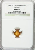 California Fractional Gold, 1880 50C Indian Octagonal 50 Cents, BG-954, Low R.4, MS66 ProoflikeNGC....