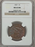 Large Cents, 1837 1C Plain Cords, Medium Letters MS65 Brown NGC. N-8, R.1....