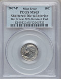 Errors, 2007-P 10C Roosevelt Dime -- Shattered Die with Interior Die Break+ 50% Retained Cud -- MS65 PCGS....