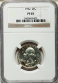 Proof Washington Quarters: , 1942 25C PR65 NGC. NGC Census: (630/936). PCGS Population(1314/1125). Mintage: 21,123. Numismedia Wsl. Price for problemf...