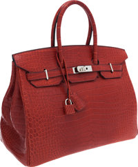 Hermes 35cm Matte Rouge H Porosus Crocodile Birkin Bag with Palladium Hardware