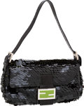 Luxury Accessories:Bags, Fendi Black Sequin, Snakeskin, & Green Enamel Classic BaguetteBag. ...
