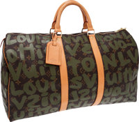 Louis Vuitton Extremely Rare 2001 Limited Edition Monogram Graffiti by Stephen Sprouse Keepall 50 Weekender Bag