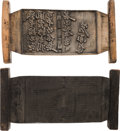 Books:Fine Press & Book Arts, Chinese Carved Wood Printing Blocks, Group of Two. Yi mo / Lu Xi(?) [Ink Traces]. Ca. 19th Century. Carved text... (Total: 2Items)