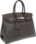 Luxury Accessories:Bags, Hermes 35cm Shiny Gris Elephant Porosus Crocodile Birkin Bag withPalladium Hardware. ...