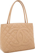 Luxury Accessories:Bags, Chanel Beige Caviar Leather Medallion Tote Bag. ...