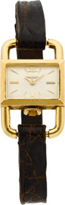 Estate Jewelry:Watches, Jaeger-LeCoultre Lady's Gold, Leather Wristwatch, Retailed by Hermes. ...