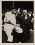 Baseball Collectibles:Photos, 1923 Babe Ruth & Jacob Ruppert Shake Hands at the World SeriesOriginal News Photograph....