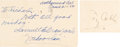 Autographs:Others, 1950 Ty Cobb & Sam Crawford Signed Government Postcards....