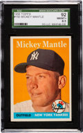 Baseball Cards:Singles (1950-1959), 1958 Topps Mickey Mantle #150 SGC 92 NM/MT+ 8.5....