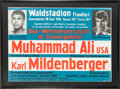 Boxing Collectibles:Memorabilia, 1966 Muhammad Ali vs. Karl Mildenberger On-Site Fight Poster....