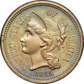 Patterns, 1865 3C Three Cent Nickel, Judd-413, Pollock-484, R.6, PR65 Brown NGC....