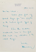 Autographs:Letters, 1961 Hank Greenberg Handwritten Letter re: Jewish Charity....