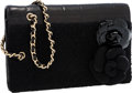 Luxury Accessories:Bags, Chanel Black Lambskin, Patent Leather, & Tweed Double CameliaPin Wristlet Clutch. ...