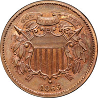 1863 2C Two Cents, Judd-312, Pollock-377, R.4, PR66 Brown NGC. CAC....(PCGS# 60467)