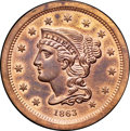 1863 3C Three Cents, Judd-319 Original, Pollock-384, R.5, PR65 Red and Brown NGC. CAC....(PCGS# 70477)