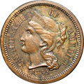 Patterns, 1865 3C Three Cent Nickel, Judd-411, Pollock-482, R.7, PR63 Brown NGC....