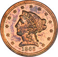 Patterns, 1865 $2 1/2 Quarter Eagle, Judd-439, Pollock-512, R.7, PR64 Red and Brown NGC....