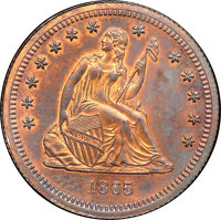1865 25C Quarter Dollar, Judd-426, Pollock-498, R.6, PR64 Red and Brown NGC. CAC....(PCGS# 70611)