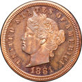 Patterns, 1881 3C Liberty Head Three Cents, Judd-1669, Pollock-1870, R.7,PR64+ Red and Brown NGC. CAC....