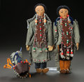 American Indian Art:Beadwork and Quillwork, A PAIR OF GREAT LAKES BEADED CLOTH DOLLS AND CRADLEBOARD... (Total:3 )