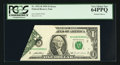 Error Notes:Foldovers, Fr. 1921-B $1 1995 Federal Reserve Note. PCGS Very Choice New64PPQ.. ...