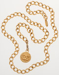 Luxury Accessories:Accessories, Chanel Gold Chain Belt with CC Pendant. ...