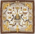 "Luxury Accessories:Accessories, Hermes Gold, White, and Tan ""Etriers,"" by Francoise de la PerriereSilk Scarf. ..."