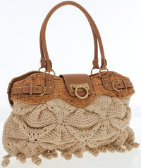 Salvatore Ferragamo Beige Knit Shoulder Bag