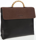 Luxury Accessories:Bags, Loewe Black and Brown Leather Top Handle Flap Bag. ...