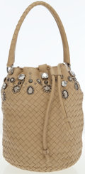 Luxury Accessories:Bags, Bottega Veneta Beige Intrecciato Woven Leather Drawstring Bag. ...