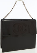 Luxury Accessories:Bags, Chanel Black Patent Leather Flap Bag with CC Logo. ...