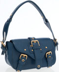 Luxury Accessories:Bags, Marc Jacobs Blue Leather Flap Shoulder Bag with Gold Hardware. ....